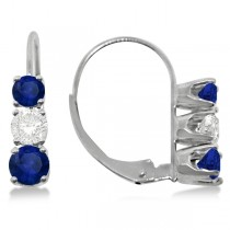 Three-Stone Leverback Diamond & Blue Sapphire Earrings 14k White Gold (1.00ct)