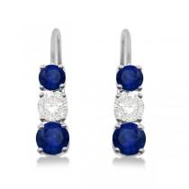 Three-Stone Leverback Diamond & Blue Sapphire Earrings 14k White Gold (1.00ct)
