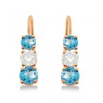 Three-Stone Leverback Diamond & Blue Topaz Earrings 14k Rose Gold (1.00ct)