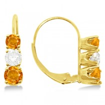 Three-Stone Leverback Diamond & Citrine Earrings 14k Yellow Gold (1.00ct)
