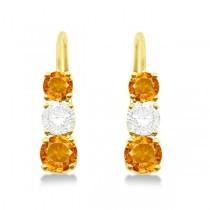Three-Stone Leverback Diamond & Citrine Earrings 14k Yellow Gold (1.00ct)