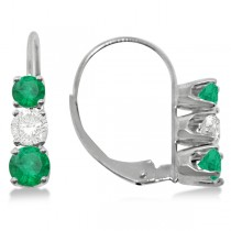 Three-Stone Leverback Diamond & Emerald Earrings 14k White Gold (1.00ct)