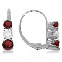 Three-Stone Leverback Diamond & Garnet Earrings 14k White Gold (1.00ct)