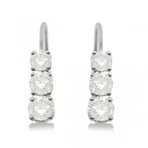 Three-Stone Leverback Moissanite Earrings 14k White Gold (1.00ct)|escape