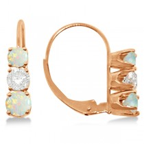 Three-Stone Leverback Diamond & Opal Earrings 14k Rose Gold (1.00ct)