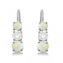 Three-Stone Leverback Diamond & Opal Earrings 14k White Gold (1.00ct)