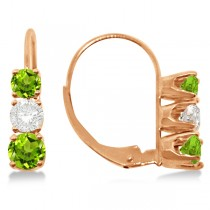 Three-Stone Leverback Diamond & Peridot Earrings 14k Rose Gold (1.00ct)