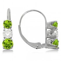 Three-Stone Leverback Diamond & Peridot Earrings 14k White Gold (1.00ct)