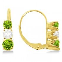Three-Stone Leverback Diamond & Peridot Earrings 14k Yellow Gold (1.00ct)