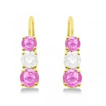 Three-Stone Leverback Diamond & Pink Sapphire Earrings 14k Yellow Gold (1.00ct)