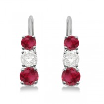 Three-Stone Leverback Diamond & Ruby Earrings 14k White Gold (1.00ct)