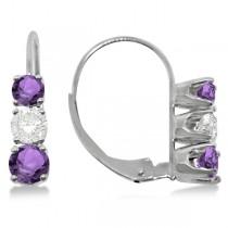 Three-Stone Leverback Diamond & Amethyst Earrings 14k White Gold (2.00ct)