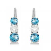 Three-Stone Leverback Diamond & Blue Topaz Earrings 14k White Gold (2.00ct)