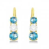 Three-Stone Leverback Diamond & Blue Topaz Earrings 14k Yellow Gold (2.00ct)