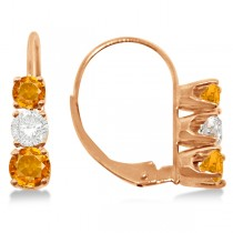 Three-Stone Leverback Diamond & Citrine Earrings 14k Rose Gold (2.00ct)