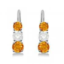 Three-Stone Leverback Diamond & Citrine Earrings 14k White Gold (2.00ct)