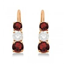 Three-Stone Leverback Diamond & Garnet Earrings 14k Rose Gold (2.00ct)