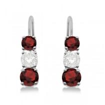 Three-Stone Leverback Diamond & Garnet Earrings 14k White Gold (2.00ct)|escape