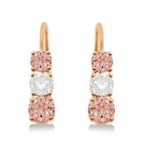 Three-Stone Leverback Diamond & Morganite Earrings 14k Rose Gold (2.00ct)