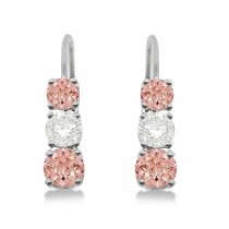 Three-Stone Leverback Diamond & Morganite Earrings 14k White Gold (2.00ct)