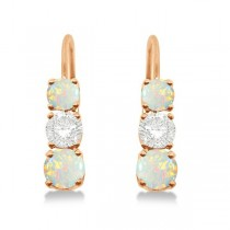 Three-Stone Leverback Diamond & Opal Earrings 14k Rose Gold (2.00ct)