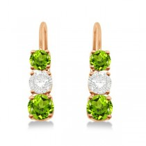 Three-Stone Leverback Diamond & Peridot Earrings 14k Rose Gold (2.00ct)