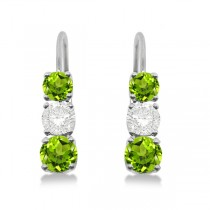 Three-Stone Leverback Diamond & Peridot Earrings 14k White Gold (2.00ct)