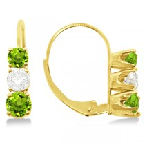 Three-Stone Leverback Diamond & Peridot Earrings 14k Yellow Gold (2.00ct)