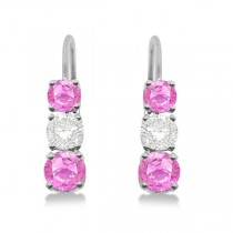 Three-Stone Leverback Diamond & Pink Sapphire Earrings 14k White Gold (2.00ct)