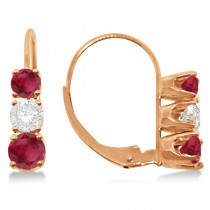 Three-Stone Leverback Diamond & Ruby Earrings 14k Rose Gold (2.00ct)