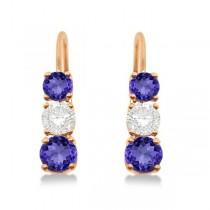 Three-Stone Leverback Diamond & Tanzanite Earrings 14k Rose Gold (2.00ct)