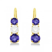 Three-Stone Leverback Diamond & Tanzanite Earrings 14k Yellow Gold (2.00ct)