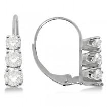 Three-Stone Leverback Diamond Earrings 14k White Gold (3.00ct)
