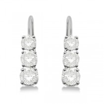 Three-Stone Leverback Diamond Earrings 14k White Gold (3.00ct)