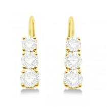 Three-Stone Leverback Diamond Earrings 14k Yellow Gold (3.00ct)
