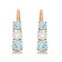 Three-Stone Leverback Diamond & Aquamarine Earrings 14k Rose Gold (3.00ct)