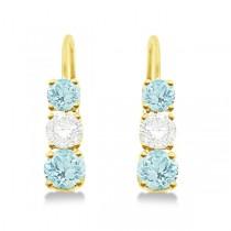 Three-Stone Leverback Diamond & Aquamarine Earrings 14k Yellow Gold (3.00ct)