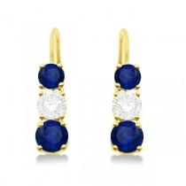 Three-Stone Leverback Diamond & Blue Sapphire Earrings 14k Yellow Gold (3.00ct)