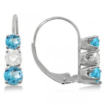 Three-Stone Leverback Diamond & Blue Topaz Earrings 14k White Gold (3.00ct)