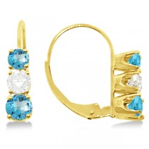 Three-Stone Leverback Diamond & Blue Topaz Earrings 14k Yellow Gold (3.00ct)