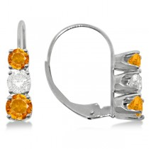 Three-Stone Leverback Diamond & Citrine Earrings 14k White Gold (3.00ct)