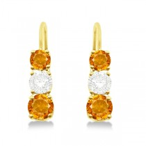 Three-Stone Leverback Diamond & Citrine Earrings 14k Yellow Gold (3.00ct)