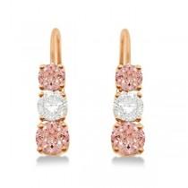 Three-Stone Leverback Diamond & Morganite Earrings 14k Rose Gold (3.00ct)