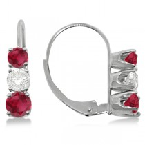 Three-Stone Leverback Diamond & Ruby Earrings 14k White Gold (3.00ct)