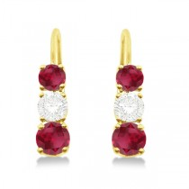 Three-Stone Leverback Diamond & Ruby Earrings 14k Yellow Gold (3.00ct)
