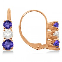 Three-Stone Leverback Diamond & Tanzanite Earrings 14k Rose Gold (3.00ct)