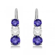 Three-Stone Leverback Diamond & Tanzanite Earrings 14k White Gold (3.00ct)