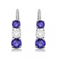 Three-Stone Leverback Diamond & Tanzanite Earrings 14k White Gold (3.00ct)|escape