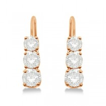 Three-Stone Leverback Diamond Earrings 14k Rose Gold (1.00ct)