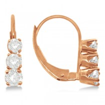 Three-Stone Leverback Diamond Earrings 14k Rose Gold (0.50ct)